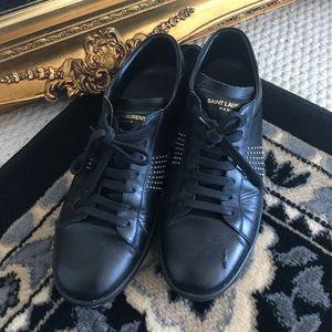SAINT LAURENT unisex studded sneakers
